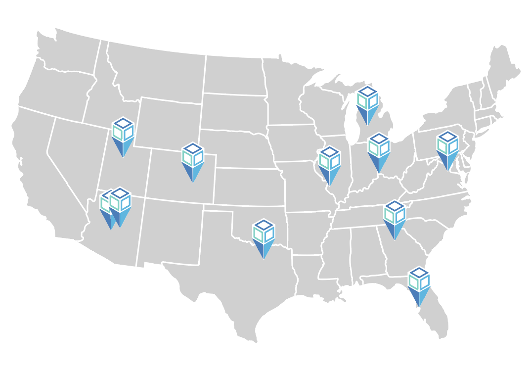 map of United States wit location images on cities of other locations